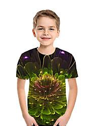 Недорогие -Дети Мальчики Активный Уличный стиль Цветочный принт Пэчворк С принтом С короткими рукавами Футболка Светло-зеленый