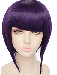 cheap -Synthetic Wig Kyoka Jiro Straight Halloween Bob Neat Bang Wig Short Purple Synthetic Hair 10 inch Women's Best Quality Purple