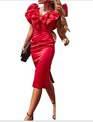 cheap -Women's Red Blue Dress Sheath Solid Color V Neck S M Slim
