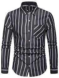 cheap -Men's Daily Work Business / Basic Shirt - Striped Black
