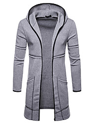 cheap -Men's Daily Fall & Winter Long Coat, Solid Colored Hooded Long Sleeve Polyester Black / Wine / Green