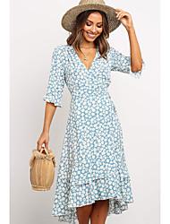 cheap -Women's Light Blue Dress A Line Floral Deep V S M