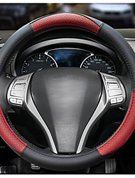 cheap -38cm Non-slip Breathable Steering Wheel Covers PU Leather Black / Red / Brown For universal