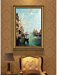 cheap -Framed Art Print Impressionist Landscape Venice Water City PS Oil Painting Wall Art