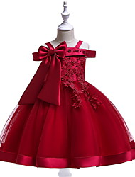 cheap -Ball Gown Knee Length Pageant Flower Girl Dresses - Polyester Short Sleeve Off Shoulder with Bow(s) / Appliques