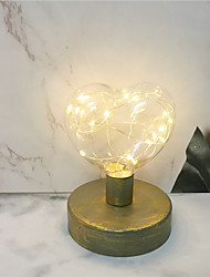 cheap -1PCS Vintage Style Iron Base Love Shape Led Night Lamp Home Bedroom Desk Lamp Decor Edison Bulb Lighting AA Battery Light Bedside Home Light (come without battery)