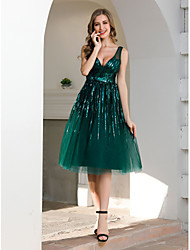 cheap -A-Line V Neck Tea Length Tulle Sparkle / Green Wedding Guest / Cocktail Party Dress with Sequin 2020