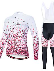 Недорогие -EVERVOLVE Жен. Длинный рукав Велокофты и велокомбинезоны Розовый+белый Розовый / черный С сердцем геометрический Велоспорт Наборы одежды Сохраняет тепло Дышащий 3D / Продвинутый уровень / Эластичная