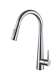 cheap -Kitchen faucet - Single Handle One Hole Stainless Steel Pull-out / Pull-down Kitchen Sink Faucet Smart Centerset Contemporary Touch Induction Kitchen Taps