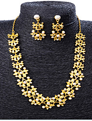 cheap -Women's Jewelry Set Classic Flower Stylish Imitation Pearl Gold Plated Earrings Jewelry Gold For Party Evening Gift Festival 1 set