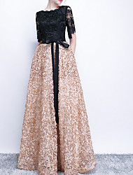 cheap -A-Line Jewel Neck Floor Length Polyester / Lace Black / Gold Prom / Formal Evening Dress with Sequin / Sash / Ribbon 2020