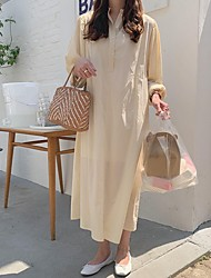 cheap -Women's Maxi Beige Dress Loose Solid Color V Neck One-Size Loose