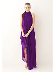 cheap -A-Line High Neck Floor Length Chiffon Empire / Purple Holiday / Formal Evening Dress with Sash / Ribbon / Bow(s) 2020
