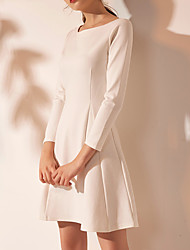 cheap -A-Line Minimalist White Graduation Cocktail Party Dress Jewel Neck Long Sleeve Short / Mini Spandex with Pleats 2020