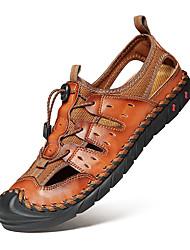 Недорогие -Муж. Комфортная обувь Весна / Лето На каждый день Повседневные на открытом воздухе Сандалии Для прогулок Наппа Leather Дышащий Коричневый / Черный