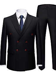cheap -Tuxedos Tailored Fit Slim Notch Double Breasted Six-buttons Polyester Solid Color / British / Fashion