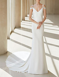 cheap -A-Line V Neck Court Train Chiffon / Lace Regular Straps Formal Plus Size Wedding Dresses with Draping 2020