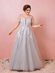 cheap -Ball Gown Plus Size Grey Prom Formal Evening Dress Illusion Neck Short Sleeve Floor Length Lace Satin Tulle with Appliques 2020 / Illusion Sleeve