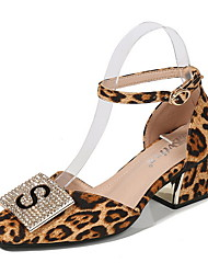 cheap -Women's Heels Print Shoes Chunky Heel Round Toe Suede Spring & Summer Leopard / Black / Daily / 3-4