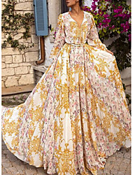 cheap -Women's Vacation Holiday Maxi Dress Maxi Slim A Line Swing Dress - Floral Print V Neck Spring & Summer Yellow S M L