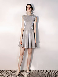 cheap -A-Line Sparkle Grey Party Wear Cocktail Party Dress High Neck Sleeveless Short / Mini Sequined with Sequin 2020
