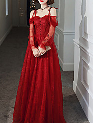 cheap -A-Line Elegant Red Party Wear Prom Dress Off Shoulder Long Sleeve Floor Length Tulle with Buttons 2020 / Illusion Sleeve