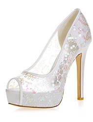 cheap -Women's Wedding Shoes Mesh Stiletto Heel Peep Toe Lace Minimalism Spring & Summer Red / Pink / Gold / Party & Evening