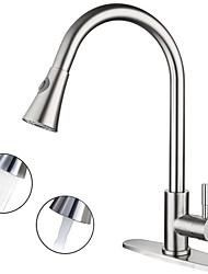 Недорогие -кухонный смеситель - Одной ручкой одно отверстие Электропокрытие Стандартный Носик Настольная установка Современный Kitchen Taps