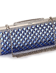 cheap -Women's Bags Acrylic / Polyester Evening Bag Crystals Chain Color Block Geometric Pattern for Wedding / Party / Event / Party Black / Champagne / Silver / Wedding Bags