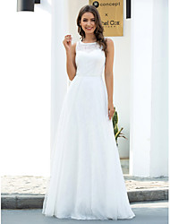 cheap -A-Line Jewel Neck Floor Length Lace / Tulle Sleeveless Country / Casual Wedding Dresses with Lace 2020
