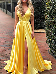 cheap -A-Line Empire Gold Prom Formal Evening Dress V Neck Sleeveless Sweep / Brush Train Charmeuse with Pleats Split 2020