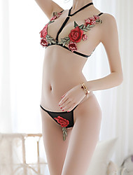 cheap -Women's Backless / Flower Matching Bralettes Nightwear Jacquard / Solid Colored Black One-Size