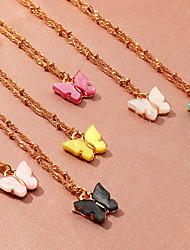 cheap -Women's Pendant Necklace Necklace Classic Butterfly Dainty Simple Fashion Cute Acrylic Chrome White Black Red Yellow Blushing Pink 47 cm Necklace Jewelry 1pc For Prom Street Birthday Party Beach