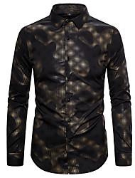 cheap -Men's Polka Dot Black Print Slim Shirt Rock Street chic Daily Club Black / Long Sleeve