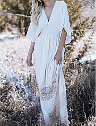 cheap -Women's Loose Dress - Solid Color Maxi White S M L XL