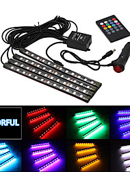cheap -Car styling Wireless Music Voice remote Control Interior Floor Foot Decoration Light Cigarette LED Atmosphere RGB Neon LampStrip 12v four in one