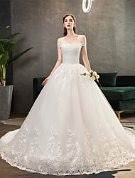 cheap -Ball Gown Off Shoulder Watteau Train Polyester / Lace / Tulle Short Sleeve Romantic Wedding Dresses with Lace / Appliques 2020