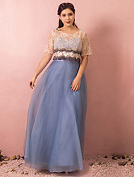 cheap -A-Line Plus Size Blue Wedding Guest Prom Dress Jewel Neck Short Sleeve Floor Length Lace Satin Tulle with Beading Appliques 2020 / Illusion Sleeve