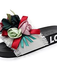 cheap -Women's Slippers & Flip-Flops Flat Heel Open Toe Satin Flower / Ribbon Tie Canvas / Denim Classic / Casual Walking Shoes Summer Black / White / Pink
