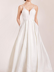 cheap -A-Line Spaghetti Strap Sweep / Brush Train Polyester Sleeveless Country Plus Size Wedding Dresses with Crystals / Lace Insert 2020