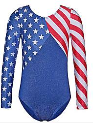 cheap -21Grams Gymnastics Leotards Girls' Leotard Spandex High Elasticity Breathable USA National Flag Long Sleeve Training Ballet Dance Gymnastics Blue