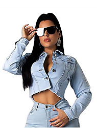 cheap -Women's Daily Regular Jacket, Solid Colored Rolled collar Long Sleeve Polyester Light Blue