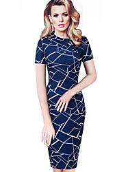cheap -Women's Navy Blue Dress Daily Bodycon Geometric Shirt Collar Basic S M