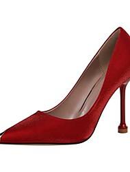 cheap -Women's Heels Stiletto Heel Pointed Toe Satin Casual / Minimalism Spring / Summer Black / Almond / Champagne