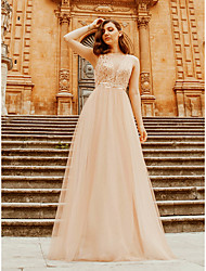 cheap -A-Line Plunging Neck Floor Length Tulle / Polyester Bridesmaid Dress with Sequin