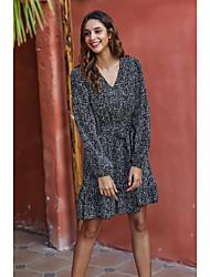 cheap -Women's Black Dress A Line Geometric V Neck S M