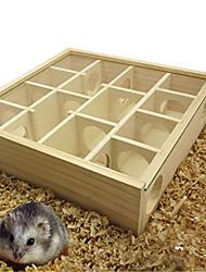 Недорогие -Карликовый лабиринт из лабиринта из лабиринта из натурального дерева с прозрачной пластиковой крышкой в клетке для мышек для лабиринта для мелких пушистых животных