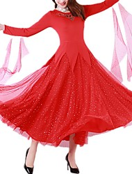 Недорогие -Бальные танцы Платья Жен. Выступление Полиэстер Аппликации / Стразы Платье