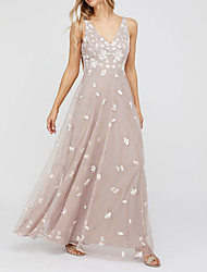 cheap -A-Line V Neck Floor Length Polyester Elegant Prom / Holiday Dress with Appliques / Draping 2020