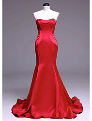 cheap -Mermaid / Trumpet Sexy Engagement Formal Evening Dress Strapless Sleeveless Court Train Satin with Sleek 2021